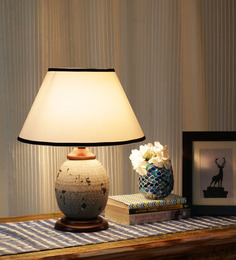 Ethnic Roots Gray And White Metal Contemporary Table Lamp - 1408672