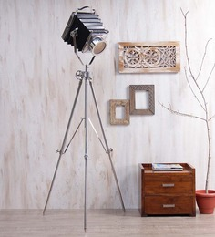 Ethnic Roots Black Nickel Finish Steel Tripod Floor Lamp