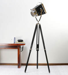 Ethnic Roots Black Nickel Mango Wood Tripod Floor Lamp
