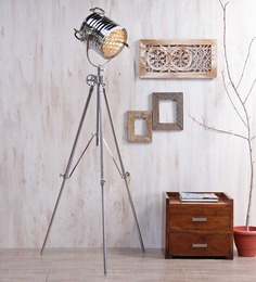Ethnic Roots Nickel Silver Metal Floor Tripod Lamp - 1351184