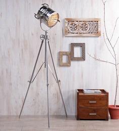 Ethnic Roots Nickel Silver Metal Floor Tripod Lamp - 1351184
