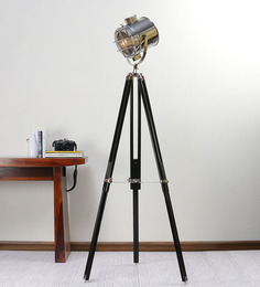 Ethnic Roots Nickel Finish Silver Metal Floor Tripod Lamp - 1351162