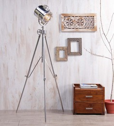 Ethnic Roots Silver Nickel Finish Steel Tripod Floor Lamp