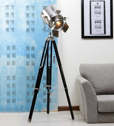 Ethnic Roots Nickel Silver Metal Floor Tripod Lamp - 1351264