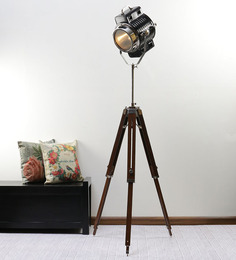 Ethnic Roots Nickel Black Metal Floor Tripod Lamp
