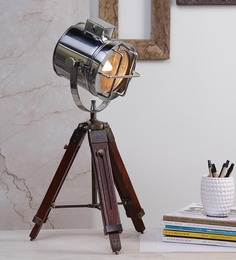 Ethnic Roots Nickel Finish Silver Metal Table Tripod Lamp - 1351257