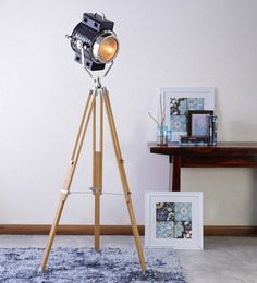 Ethnic Roots Nickel With Sheesham Wood Tripod Floor Lamp - 1351178