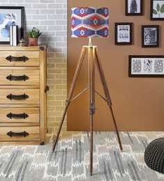 Ethnic Roots Red & Blue Cotton Floor Lamp - 1566675