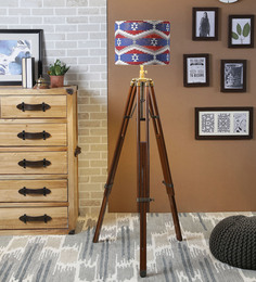 Ethnic Roots Red & Blue Cotton Floor Lamp - 1566765