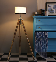 Ethnic Roots Sheesham Wood And White Color Tripod Floor Lamp - 1408556