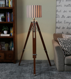 Ethnic Roots White & Black Cotton Floor Lamp - 1566753