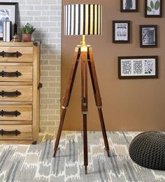 Ethnic Roots White & Black Cotton Floor Lamp - 1566733