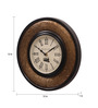 Ethnic Clock Makers Gold MDF & Metal 12 Inch Round Brass Fit Handmade Wall Clock