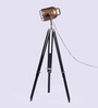 Ethnic Roots Sheesham Wood & Black Finish Tripod Floor Lamp
