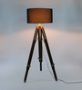 Ethnic Roots Mango Wood And Black Color Tripod Floor Lamp