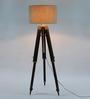 Ethnic Roots Sheesham Wood & Beige Color Tripod Floor Lamp
