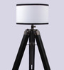 Ethnic Roots White Cylindrical Wooden Tripod Floor Lamp