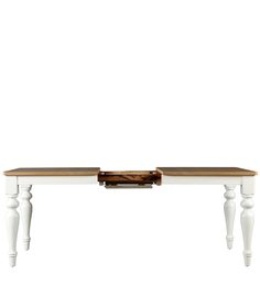 Evelyn Six Seater Expandable Dining Table In White & Walnut Color Colour By HomeTown