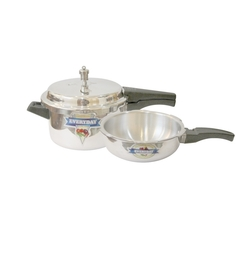 Everyday Outer Lid Aluminium Pressure Cooker - 5 Litres With  FREE Pressure Pan - 3 Liters