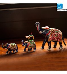 Exclusivelane Royal Blue Metal Hand Enamelled Meenakari Elephant Family Showpieces