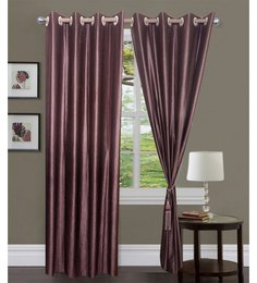 Exporthub Beautiful Fancy Eyelet Door Curtain (Set Of 2)- Printless