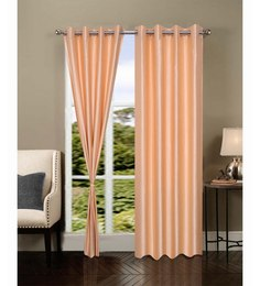 Exporthub Beautiful Fancy Eyelet Door Curtain (Set Of 2)- Designer
