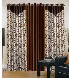 Exporthub Brown Polyester 84 X 48 Inch Floral Eyelet Door Curtain - Set Of 3
