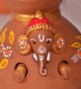 Exclusivelane Brown Terracotta Hand Painted Baby Ganesha Coming Out from The Matki