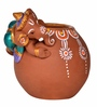 Exclusivelane Brown Terracotta Hand Painted Baby Ganesha Rolling on The Matki