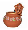ExclusiveLane Brown Terracotta Hand Painted Baby Ganesha Idol - Set of 2