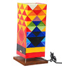 ExclusiveLane Multicolour Canvas, Plastic, & Wood Abstract Canvas Hand painted Lamp