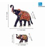 Exclusivelane Royal Blue Metal Hand Enamelled Meenakari Elephant Family Showpieces - Set of 2