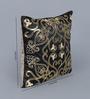 Eyda Black Polyester 16 x 16 Inch Aari Sequin Cushion Cover