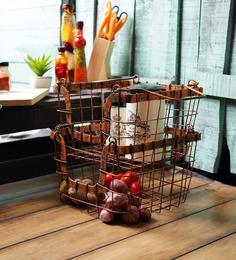 Fabuliv Antique Orange Metal Stackable Wire Basket - Set Of 2