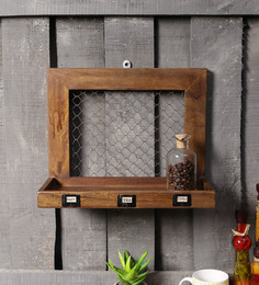 Fabuliv Vintage Walnut Mango Wood Framed Kitchen Shelf With 1 Slab
