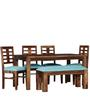 Fallon Six Seater Dining Set with Bench in Provincial Teak Finish by Woodsworth