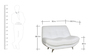 Feather Two Seater Sofa in White Leatherette by Sofab