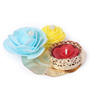 Festive Collection Multicolour Metal Fancy Carving Plate Design Festive Rose Diya