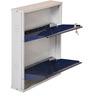 Two Door Metal Shoe Rack in Blue colour by FurnitureKraft