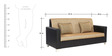 Florida Three Seater Sofa in Black Colour by ARRA