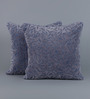 Floor and Furnishings Indigo Cotton 16 x 16 Inch Foliage Cushion Covers - Set of 2