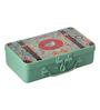 Fluke Design Company Green Aluminium Floral Decoupage 7.1 x 3.9 x 2 Inch Keepsake Box
