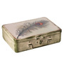 Fluke Design Company White Aluminium Feather Decoupage 9.1 x 6.3 x 2.8 Inch Keepsake Box