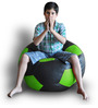 Football Bean Bag (Cover Only) XXL size in Black & Green Colour  by Style Homez