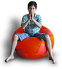 Football Bean Bag (Cover Only) XXL size in Orange & Red Colour  by Style Homez