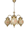Fos Lighting Antique Gold Brass and Glass Chandelier