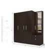 Four Door Wardrobe with Dresser in Country Oak Dark Finish in PLPB by Primorati
