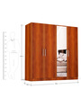 Four Door Wardrobe with Mirror in Bird Cherry Finish in MDF by Primorati
