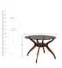 Four Seater Round Dining Set with Glass Top in Brown Colour by Parin