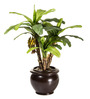 Fourwalls Green Polyester Artificial Banana Bonsai Plant with Ceramic Vase